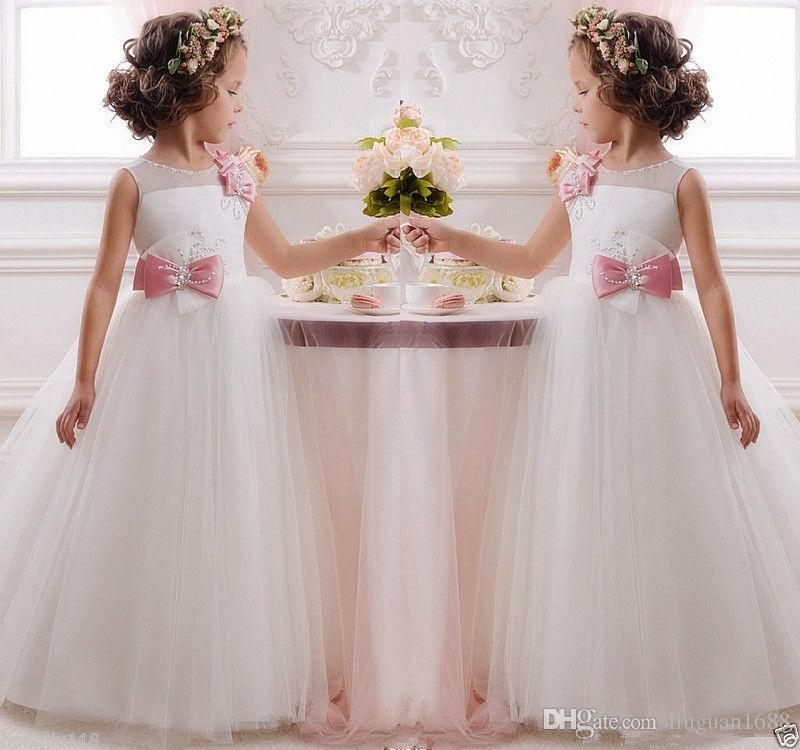 Flower Girl Dresses For Weddings With Capped Sheer Neck Appliques Lace Cupcake Pageant Dress For Girls Long Beads Girls Wedding Party Gowns