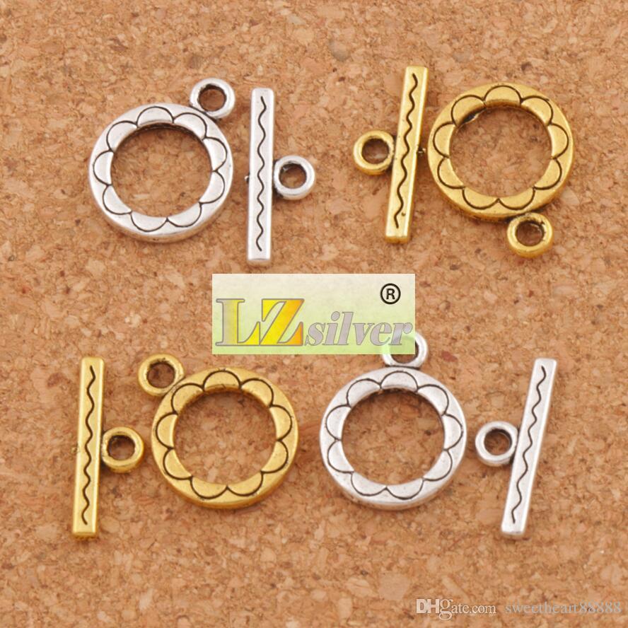 Fleur ronde Bracelet fermoir à bascule 200 ensembles / Argent Antique / Or Résultats de bijoux L831 Nouvelle vente chaude