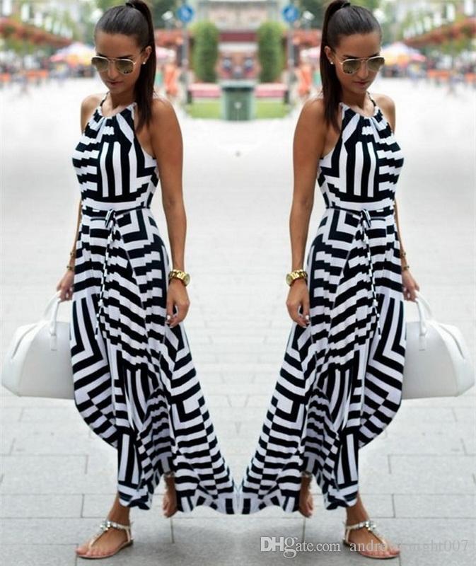 Женщины Sexy Summer Dress Boho Maxi длинные полосатый рукавов платье партии пляжная одежда Dress женщины лето DK0542BK