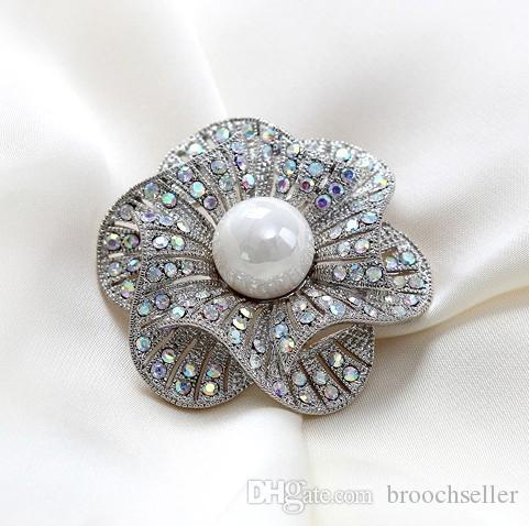 Broche de diamantes de imitación de diamantes de diamantes de imitación de 1,8 pulgadas Banquete de boda Corsages es disponibles Estilo vintage