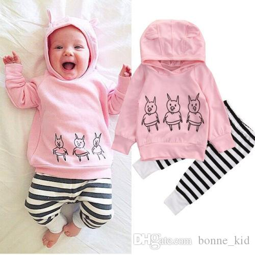970473a605293e 2019 Newborn Baby Girls Outfits Animals Pig Hoodie Top +Pants Leggings Cute Children  Clothing Toddler Long Sleeve Boutique Kid Clothes 0 2Y From Bonne kid