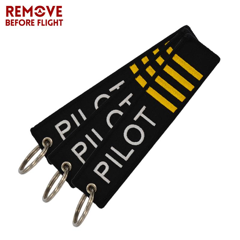 Remove Before Flight OEM Key Chain Jewelry Safety Tag Embroidery Pilot Key Ring Chain for Aviation Gifts Lage Tag Label
