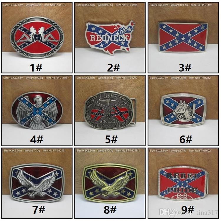 Cinturones de moda Confederado Sur del Sur Banderas Rebeldes Bandera Civil Hebillas de Cinturón Guerra Civil Bandera Hebillas de Cinturón Dixie Bandera Hebillas C009