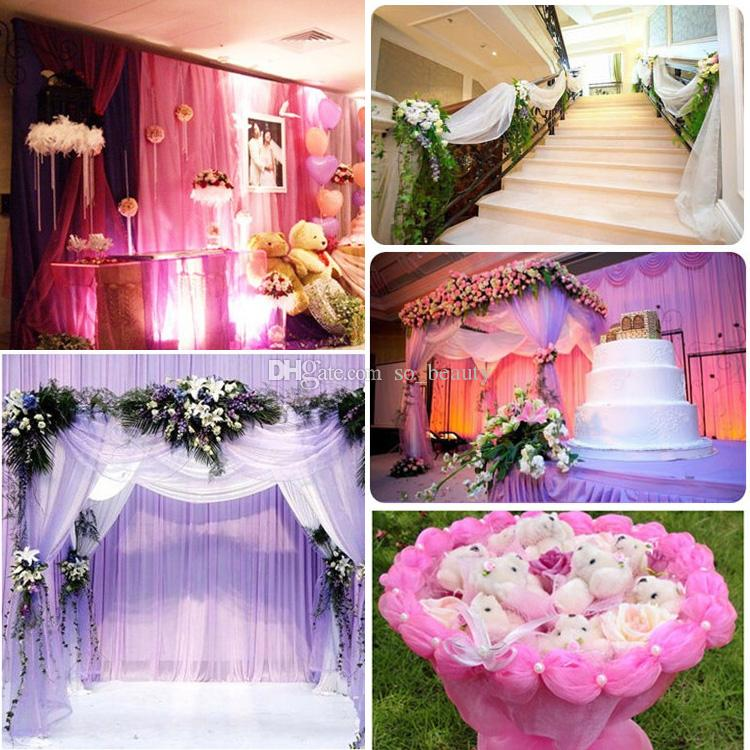 Table Chair Swags Sheer Organza Fabric DIY Wedding Party Decoration 48cm * 50m  1.57 * 164 Feet