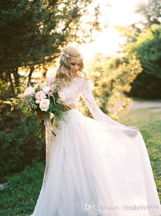 2019 رومانسية قطعتين البوهيمي فستان الزفاف الأنيق الشيفون طويلة الأكمام الدانتيل الصيف شاطئ ثوب الزفاف زائد الحجم مخصص