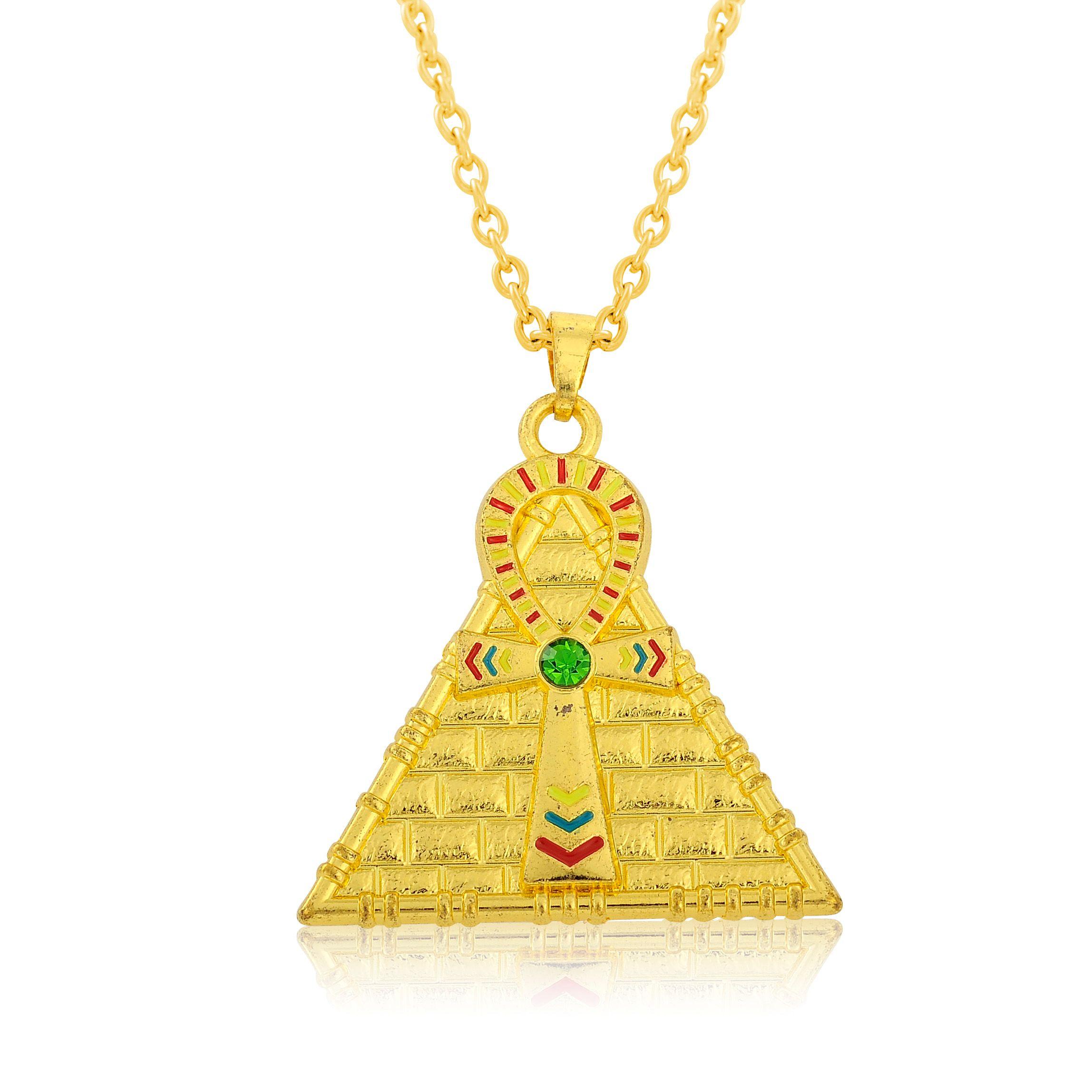 d16d3ae63c29 Moda chapado en oro esmaltado Ankh cruz pirámide medallón pirámide egipcia  joyería masculina collar colgante collar