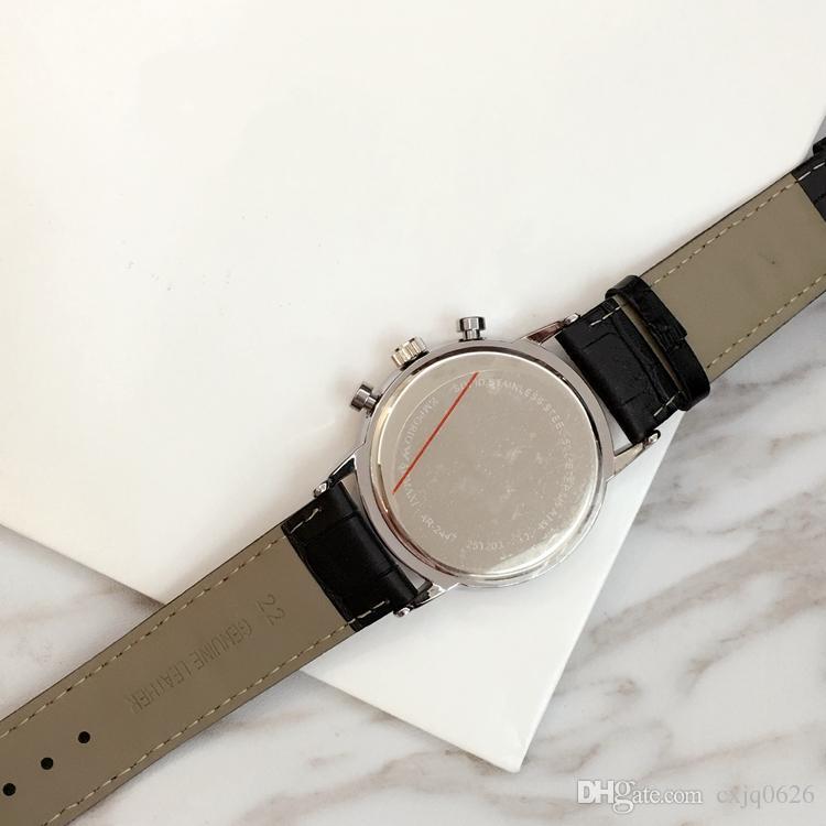 TOP Fashion watch Luxury Steel Quartz Man watch Sports Leather stop watch Chronograph Wristwatches Life Waterproof male date clock Hot Items