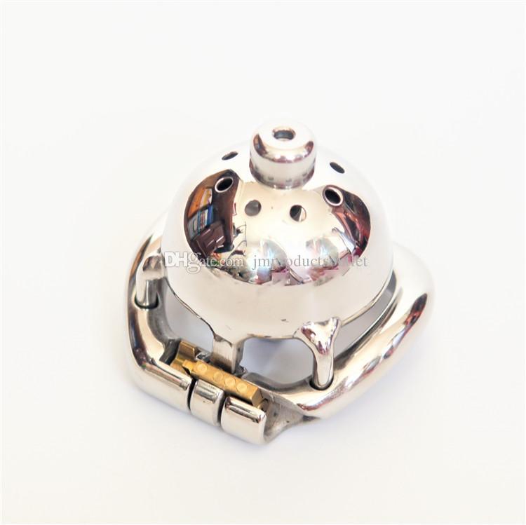 요도 소리와 함께 40mm 슈퍼 짧은 금속 콕 새장 # 304 남성 스테인리스 작은 남성 순결 케이지 새로운 순결 장치