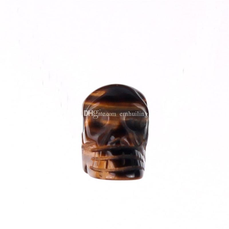 Manual Healing Realistic Tiger Eye Crystal Stone Human Reiki Skull Figurine Statue Sculptures Charms Pendant Random Color Drilled Hole Beads