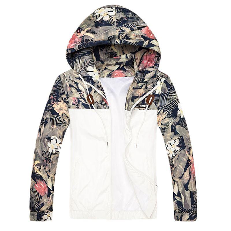 Floral Bomber Jacket Men Hip Hop Slim Fit Flowers Pilot Bomber ...