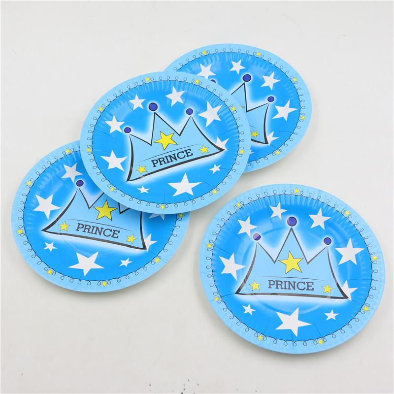 2019 Wholesale Kids Boys Birthday Decorations Prince Blue Crown Theme Disposable Paper Plates Cake Dishes Baby Shower Favors From Dalihua 1962