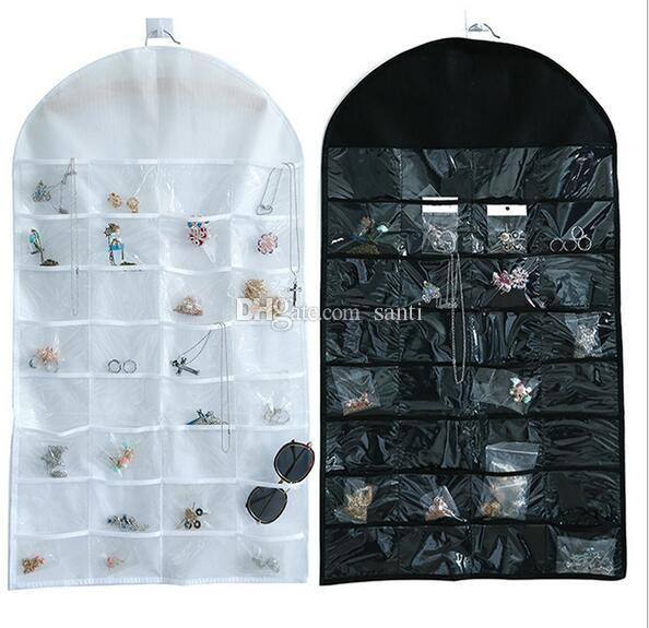 New 32 Pockets Jewelry Hanging Organizer Earrings Necklace Jewelry Display Holder Dual Sided Jewellery Storage Bag Display Pouch