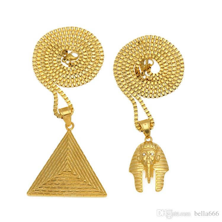 High Quality Stainless Steel Men Hip Hop Gold Plated Pharaoh Pyramid Pendant Necklace Set Face Triangle Jewelry Sets