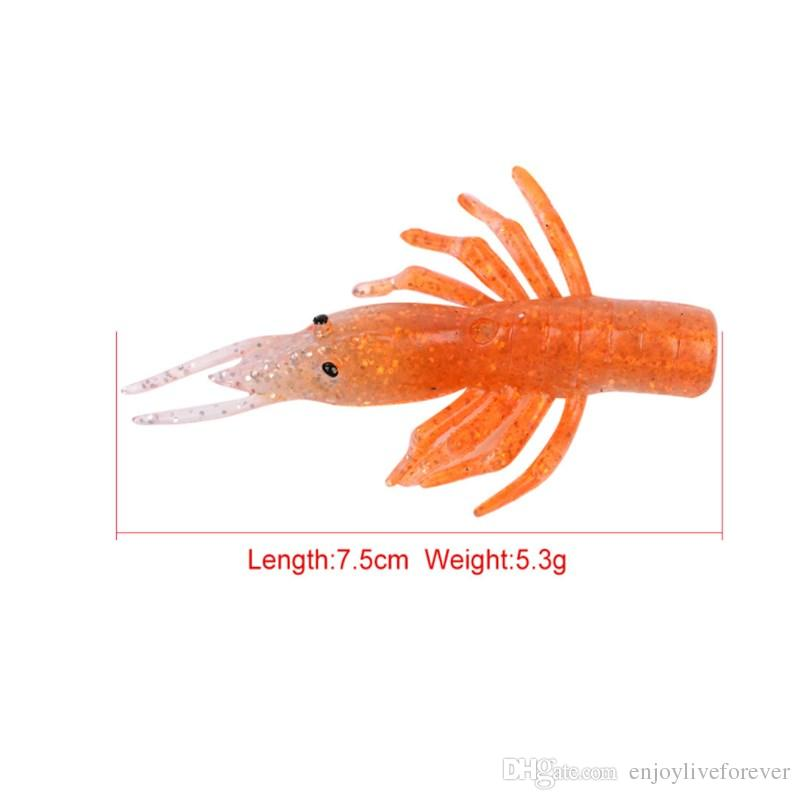 Silicone Soft Fishing Lure Sets 10cm Lifelike Shrimp Bait Combo with Single Barbed Hook and 13g Orange Spinnerbaits Fishing Tackle