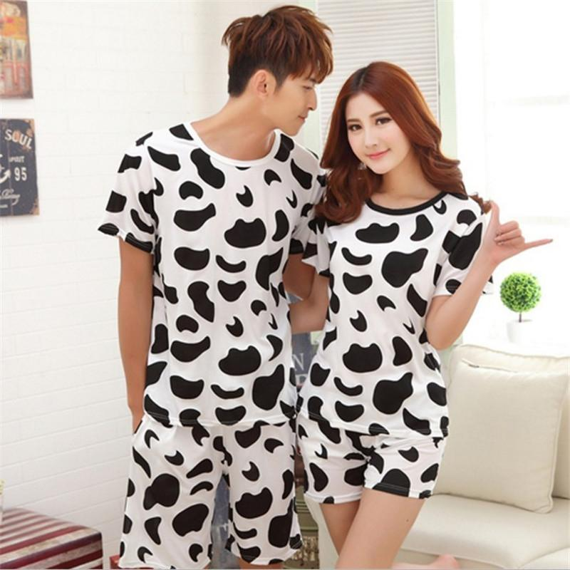 2019 Wholesale Summer New Couple Pajamas Set Men And Women Cartton Short  Sleeve Sleepwear Cute Home Clothes Lover Night Wear From Sweet59 b48d1e9ff