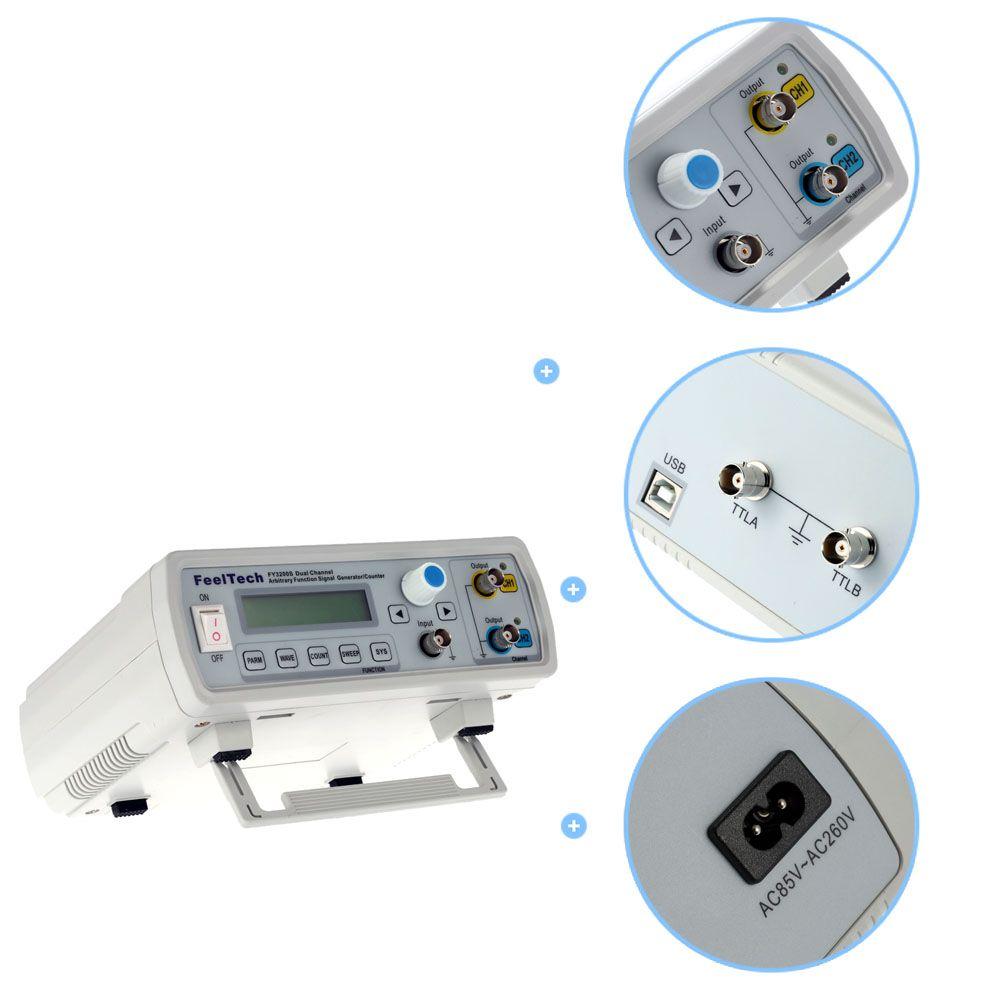 Freeshipping Digital DDS Fonction double canal Générateur de signaux Signal arbitraire / Fréquencemètre 12Bits onde sinusoïdale 20 MHz