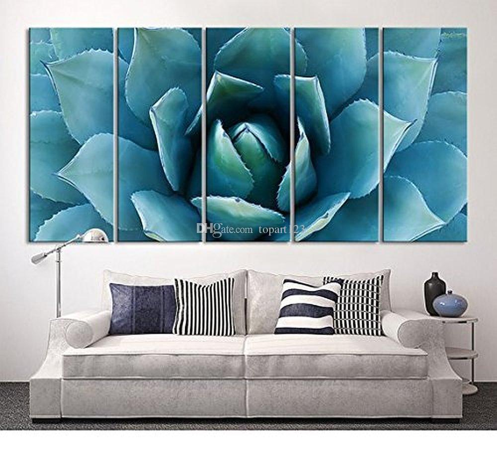 Teal Canvas Wall Art 2017 large wall art blue agave canvas prints agave flower large