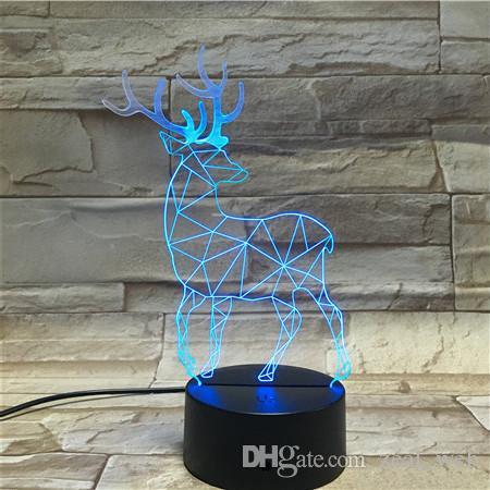 Venta al por mayor 3D Chrismas Elk Lights Night Light USB LED Enseñar ON-Off Decoración de Navidad Mejor regalo Envío gratuito de DHL 7