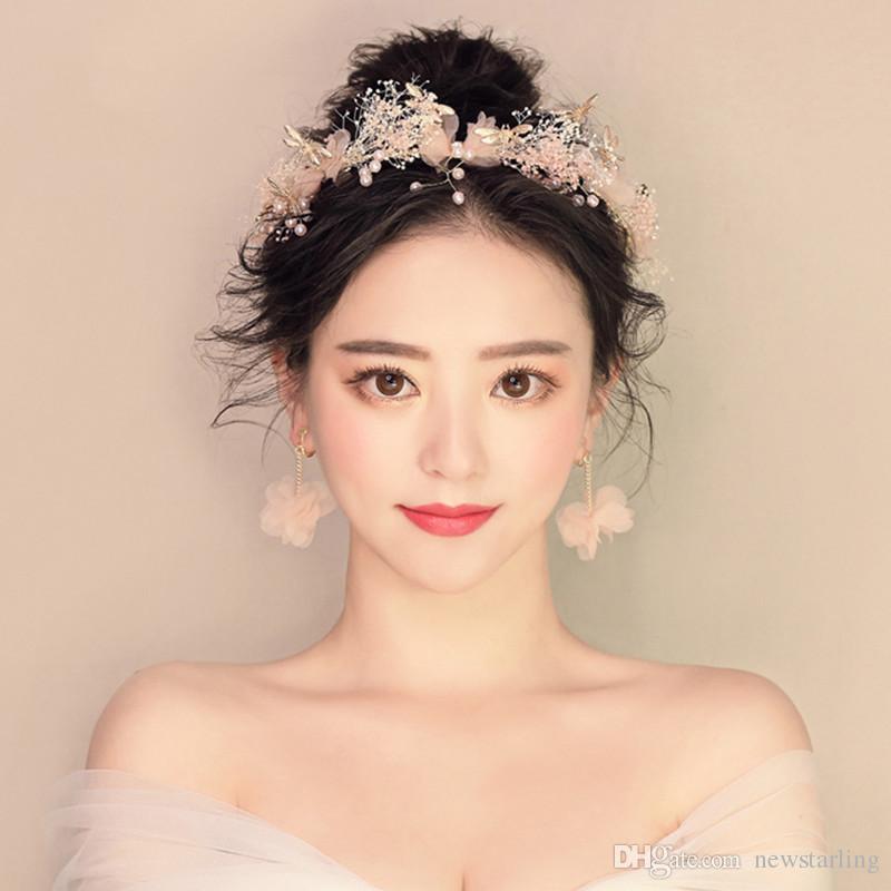Wedding Hairstyle Korean: Korean Bride Headdress Floral Earrings Baby'S Breath