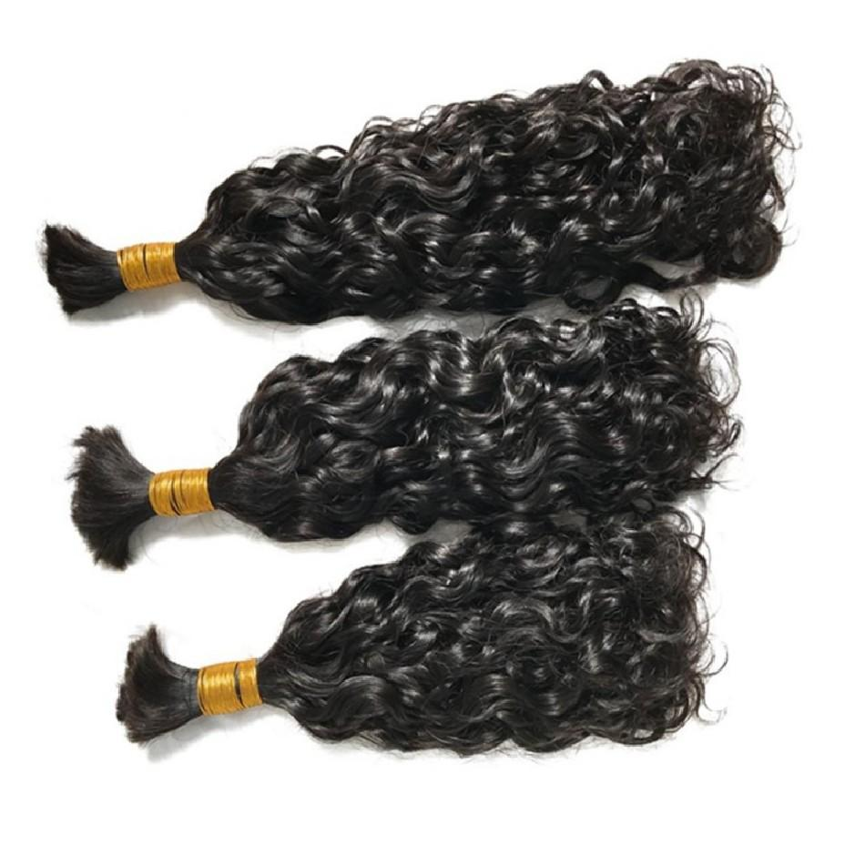 Human Hair Bulk Indian Water Wave Bundles Hair Extensions Natural Color 100g/ Bundle for Braiding FDSHINE