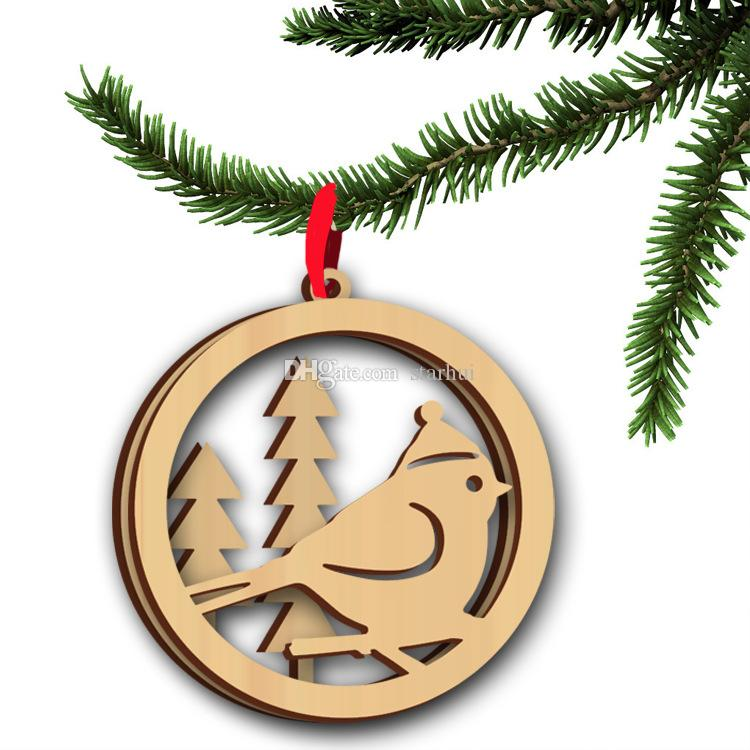 Christmas Tree Ornaments Wood Chip Tree Deer Pattern Hanging Pendant Xmas Home Festival Party Decoration WX9-125