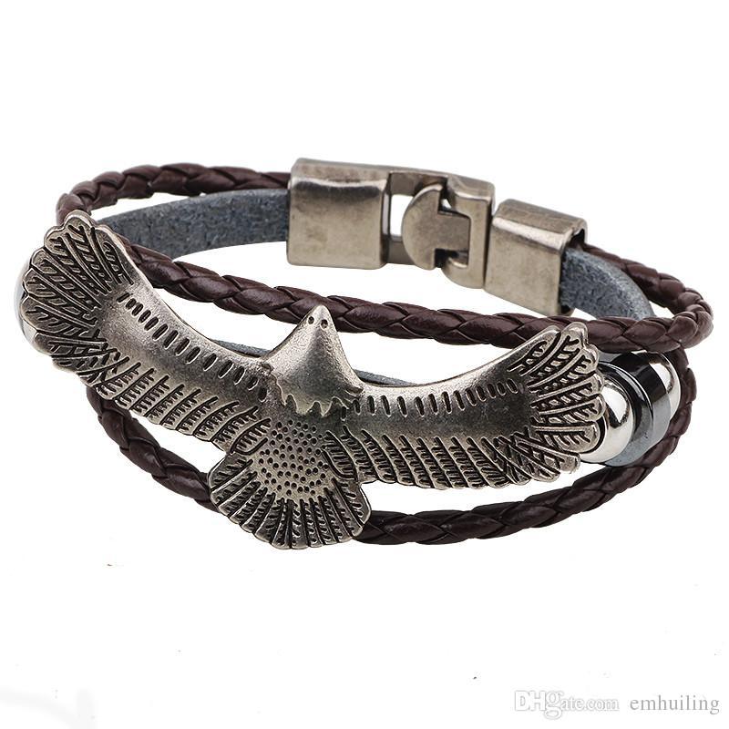 Handmade Leather Bracelets Men Metal Flying Eagle Beaded Charm Bracelet Alloy Woven Jewelry Handmade Charm Mens Bracelet Black Brown Rope
