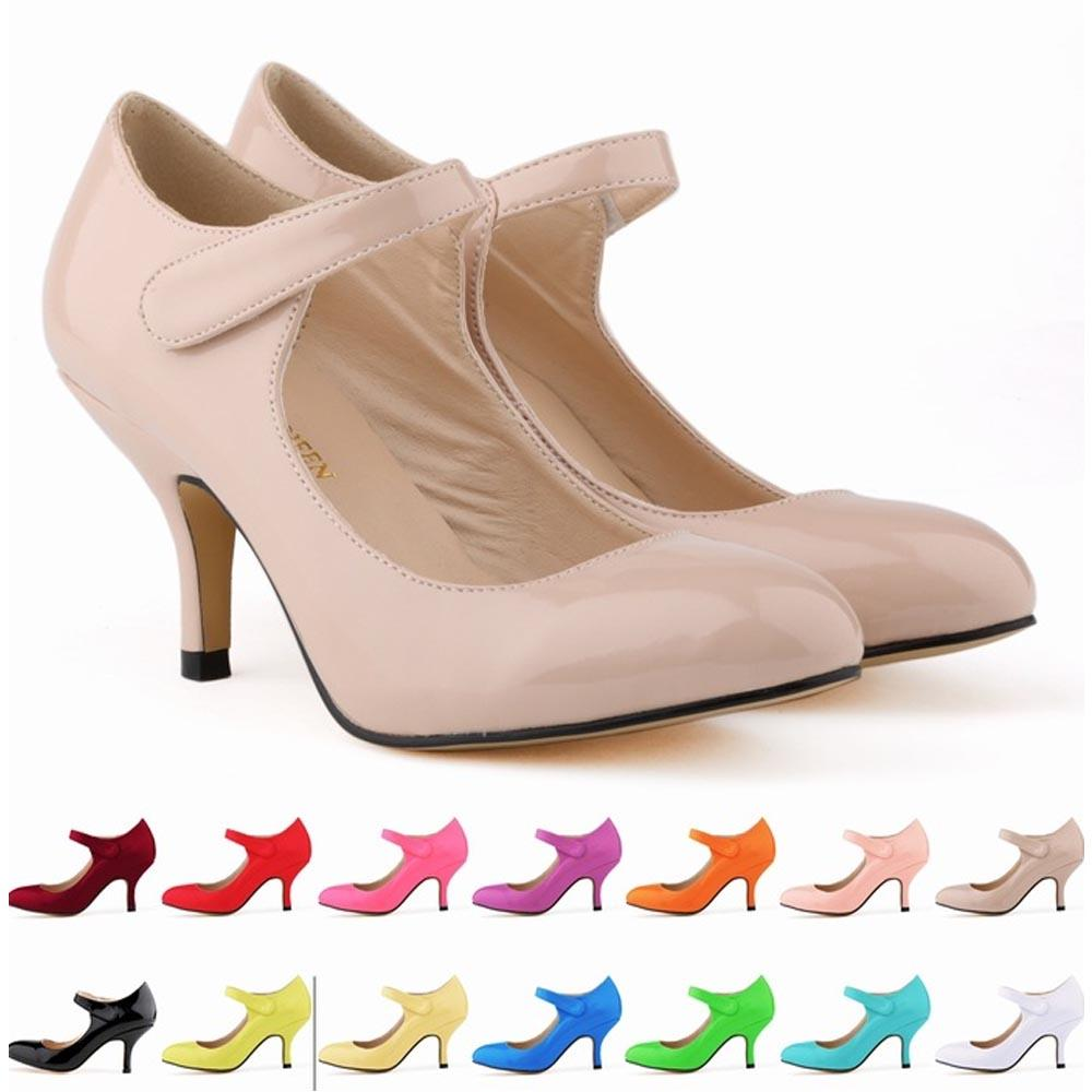 Zapatos Mujer Women Lady Composite Patent Leather Paste High Heels Pointed Toe Shoes Hook Loop Women US Size 4-11 EU 35-42 D0059