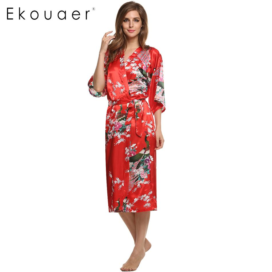 2018 Wholesale Women Satin Kimono Robe Sleepwear Silk Pajama Casual ...