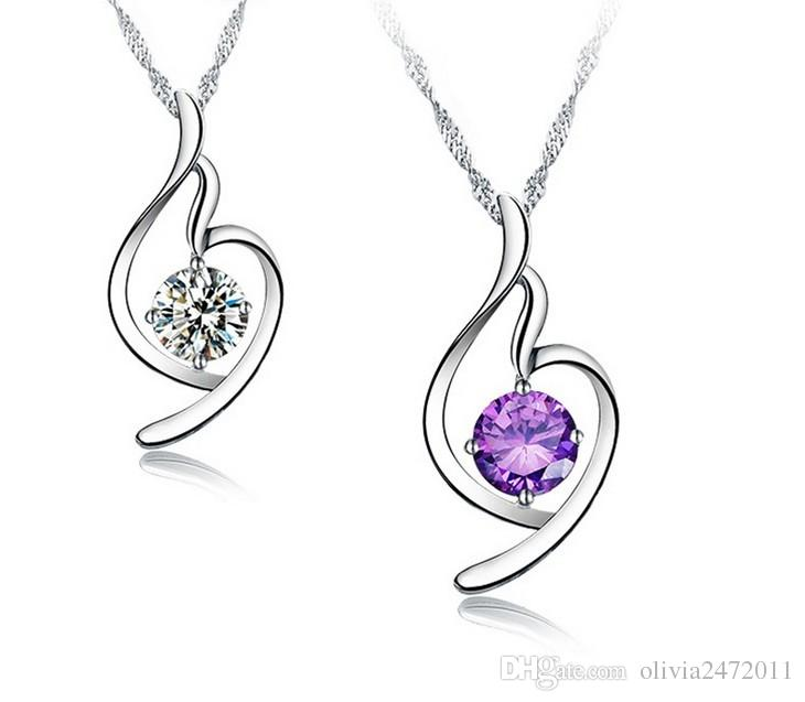 Top Quality Shining Crystal Heart shape 925 Sterling Silver White Gold Plating Loving Heart Pendant Necklace For Women Gifts MG11