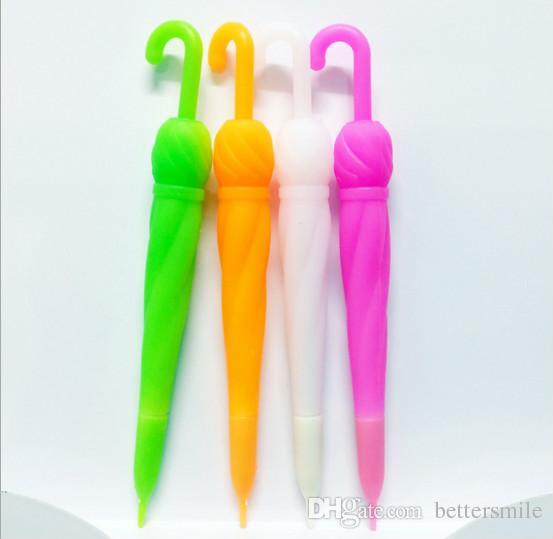 Venta al por mayor gel pluma envío gratis 120 unids \ lote papelería creativa de dibujos animados caramelo color paraguas pluma neutra con pegamento de color Negro 0.38 mm077