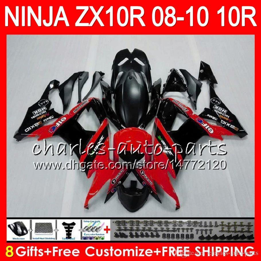 8Gifts Body For KAWASAKI NINJA ZX1000C ZX10R 08 09 10 47HM24 ZX1000 C ZX 10 R ZX-10R ZX 10R 2008 2009 2010 Fairing kit