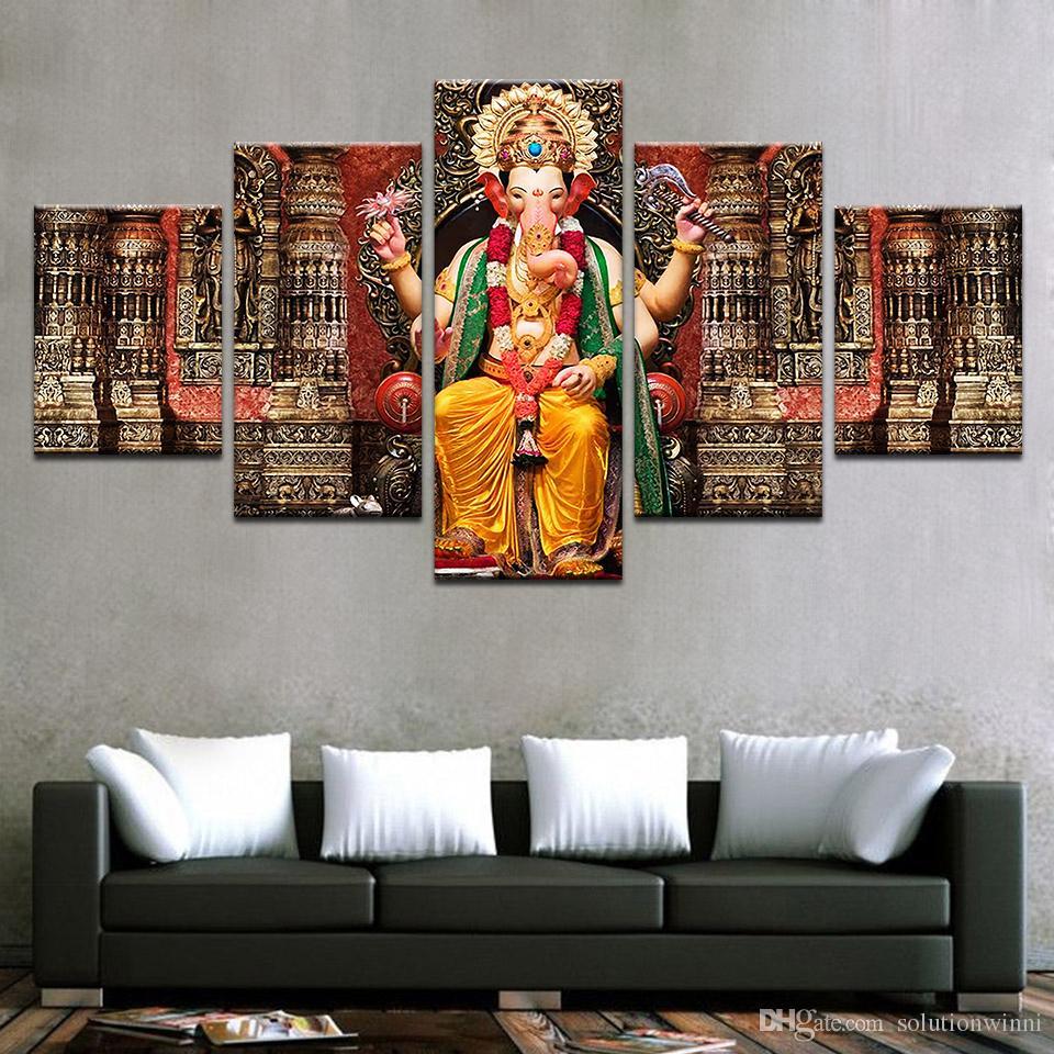Perfekt Großhandel 5 Teile / Satz Leinwand Bilder Hd Drucke Wandkunst Indien  Religion Elephant Ganesh Gemälde Für Wohnzimmer Wohnkultur Drucke Modulare  Bilder Von ...