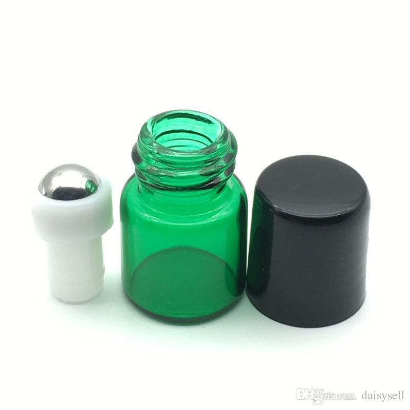 Vuoto Mini Profumo bottiglie di vetro 1ml rullo Bottiglia di vetro verde Rullo di metallo Bottiglia di sfere Bottiglia di olio essenziale del campione