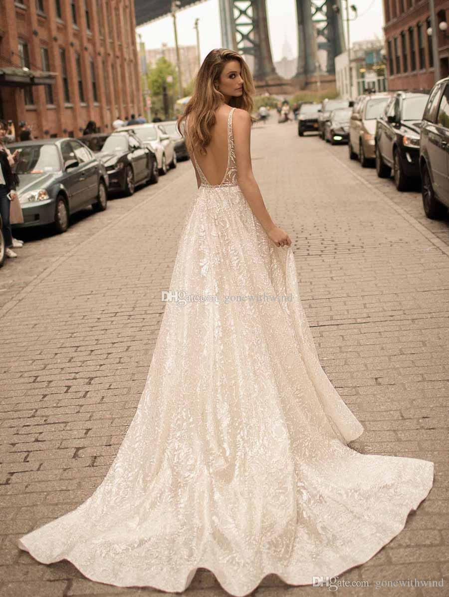 Simple Ball Gown Sequin Lace Wedding Dresses 2018 Berta Bridal Deep ...