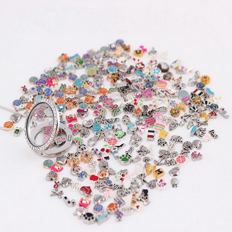 Coloridas imágenes! / Estilos diseños mezclados flotantes encantos Locket encanto de la aleación para el vidrio de estar Medallones joyería DIY