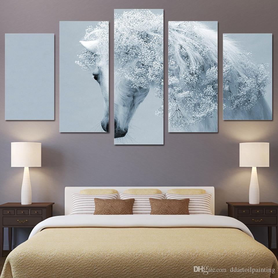 5 Panels White Horse Art Photos Painting Snow Wall Canvas HD Print Pictures for Bedroom or Sofa Background Decor Print Poster Unframed