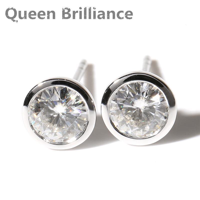 629e44388d25 Compre Queen Brilliance Real 14k 585 Oro Blanco Push Back 1 Quilates Ctw F  Color Test Lab Positivo Moissanite Crecido Diamantes Pendientes Q171026 A   362.15 ...