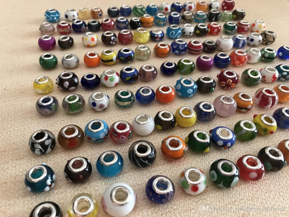 Mescoli la perla di vetro di Maruno lega il fascino di stile europeo dei gioielli di modo della resina di cristallo fatta a mano o di cristallo la promozione del braccialetto di Pandora