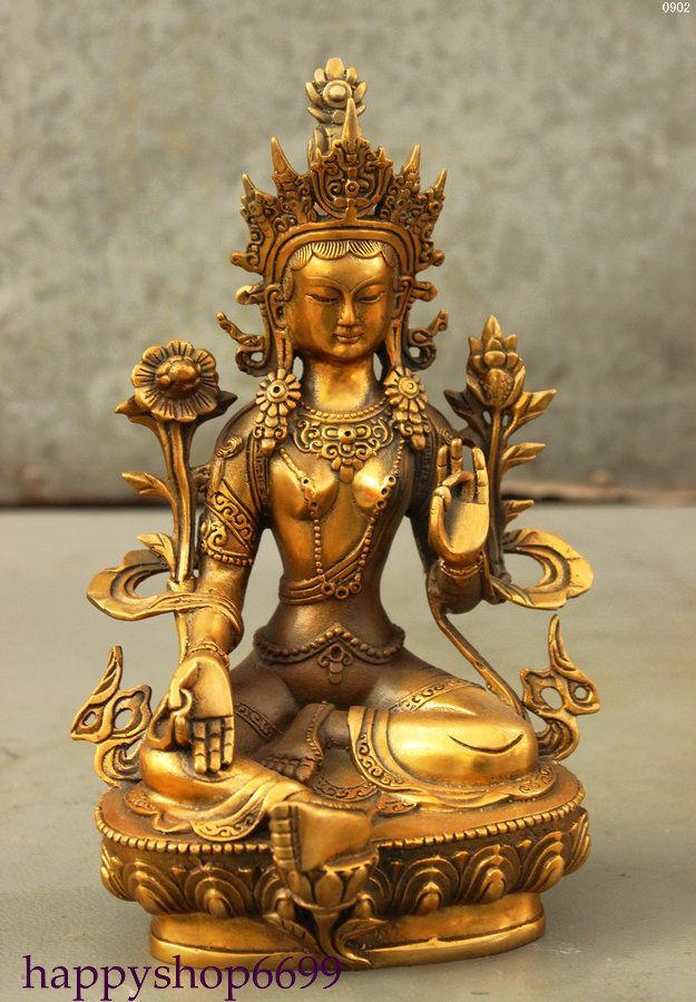 2018 8 tibet bouddhisme bronze doré lotus vert tara déesse kwan yin bouddha décoration statue en métal artisanat from dong1225 125 62 dhgate com