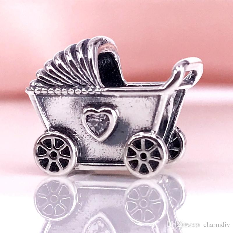 94f775d2ebf85 2019 Baby Pram Charm Authentic 925 Sterling Silver Beads Fits European  Style Jewelry Bracelets   Necklace 792102CZ From Charmdiy