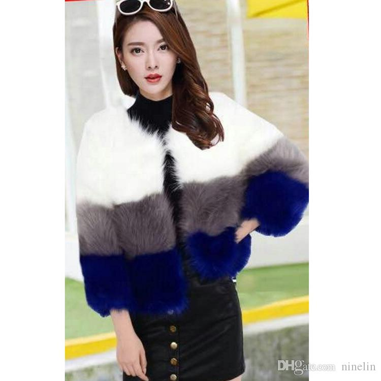 News Hot Women's High Copy of Fund of Autumn is the Fox Fur Round Collar Short Sleeve Color Matching Jacket
