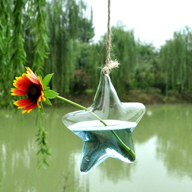 Clear Glass Vase Terrarium Wall Hanging Star Shaped Creative