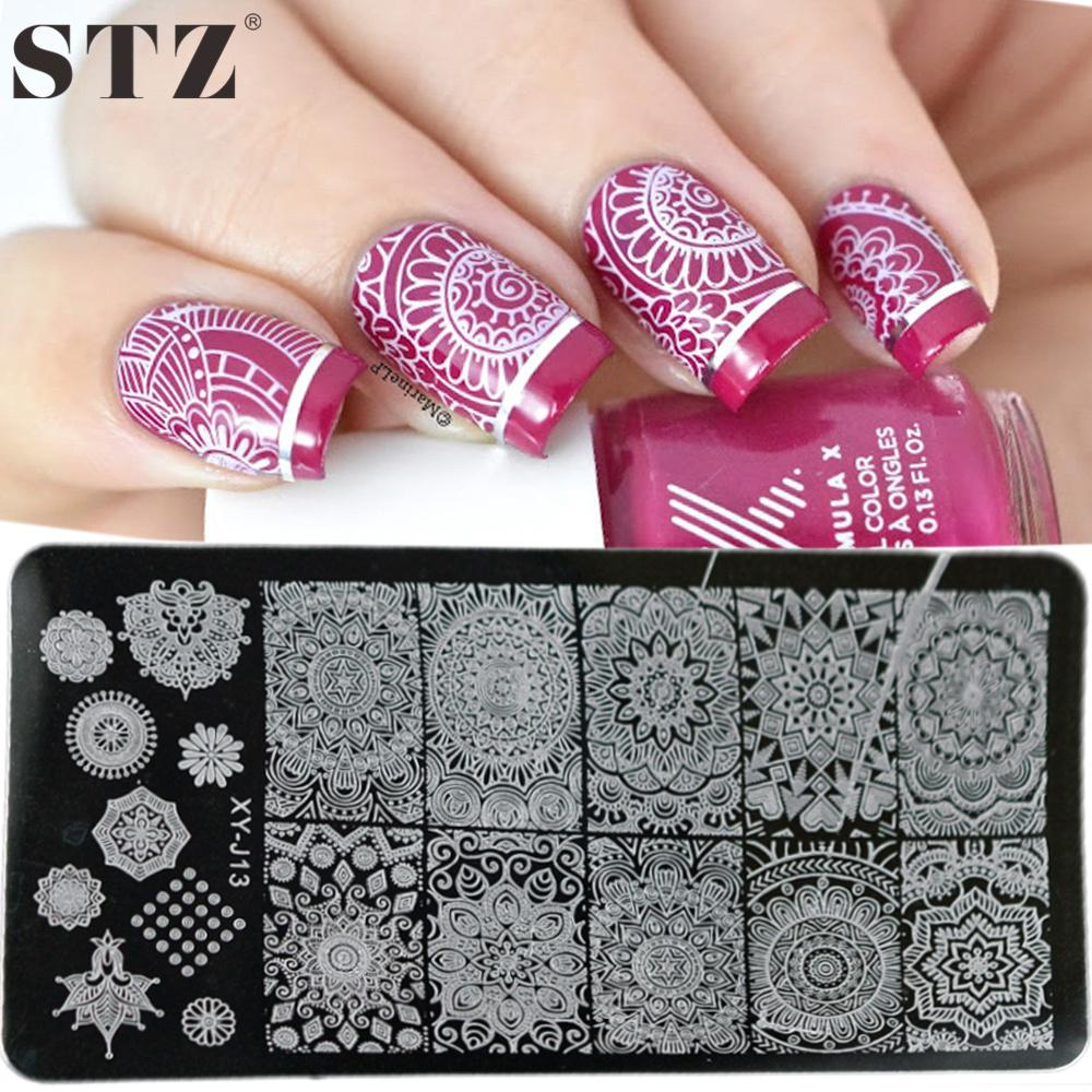 Wholesale Stz Flower Nail Stamping Plates Template Big Full Round
