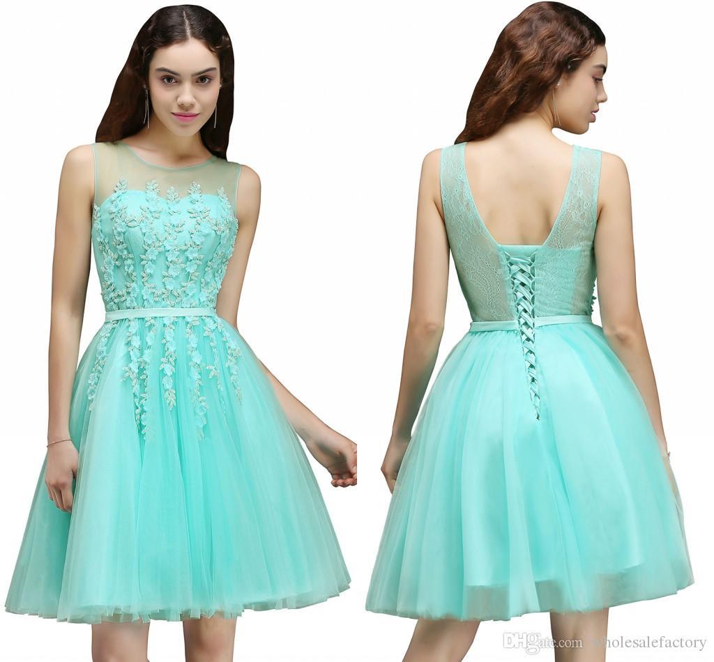 Stock Mint A Line Short Prom Dresses Cheap Sheer Jewel Neck 3d ...
