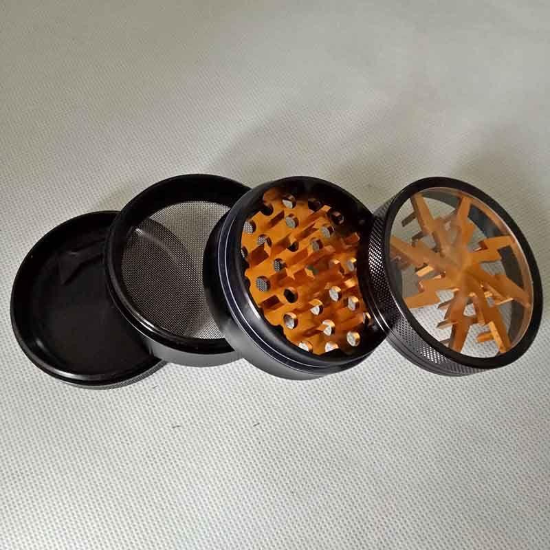 100% metal tabaco para fumar amoladoras de hierba 63 mm amoladoras de aleación de aluminio con ventana superior transparente iluminación amoladora es 4 partes