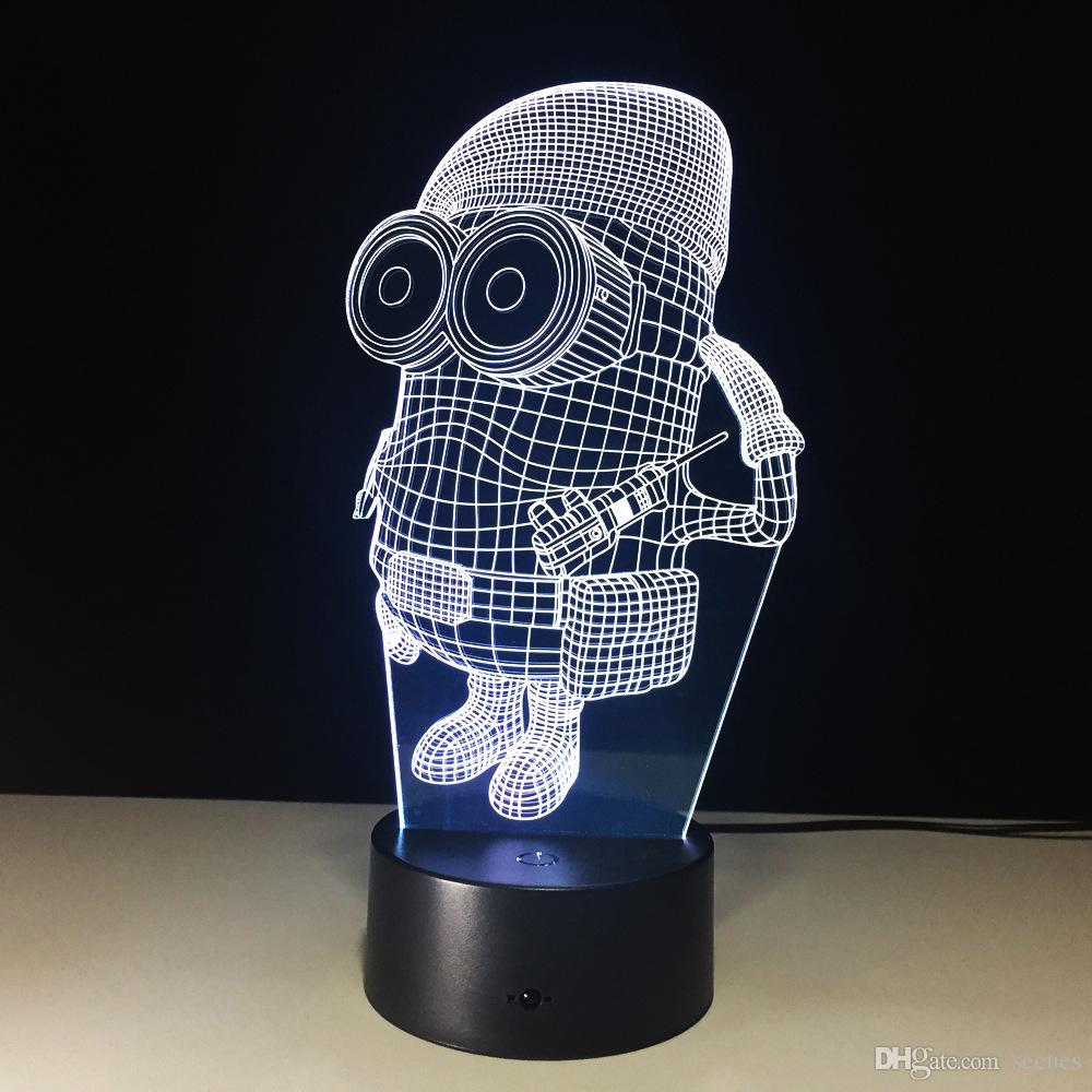 3D Minions Illusion Night Lamp 7 RGB Colorful Lights USB Powered with Battery Bin Touch Button Wholesale Dropshipping
