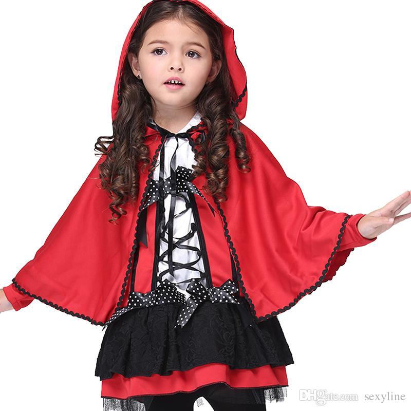 halloween costumes children cape hooded dress kids cloak mantle girls red devil cosplay show childrens clothes