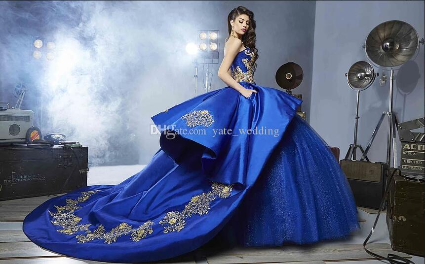 Royal Blue Ball Gown Quinceanera Dresses Sweetheart Embroidery Appliques Beading Gold Satin Tulle Luxury Sweet 16 Dresses Sweep Train