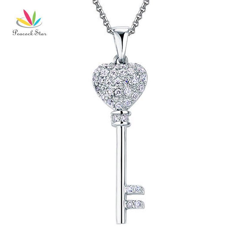 061041e27894 Compre Peacock Star Love Llave Sólida 925 Collar De Plata De Ley Colgante  Collar CFN8029 A  27.14 Del Tao03