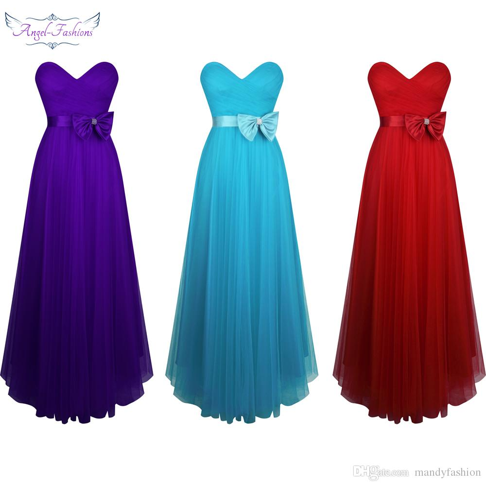 Angel Fashions Women\'S Sweetheart Pleated Tulle A Line Bow Ball Gown ...